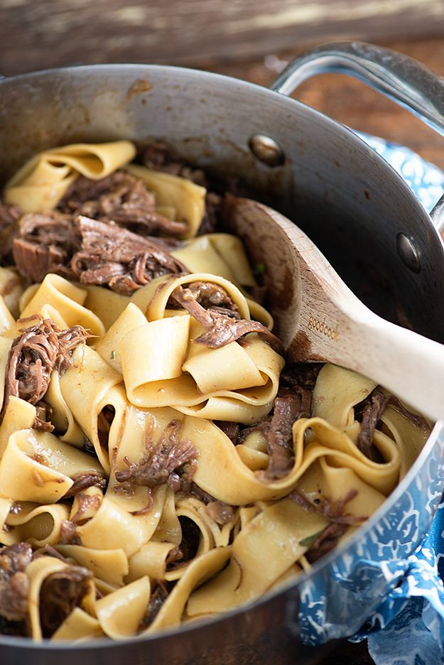 I used Reames Egg Noodles. We both thought it was good. Slow cooker beef and noodles - total comfort food and just a handful of ingredients!