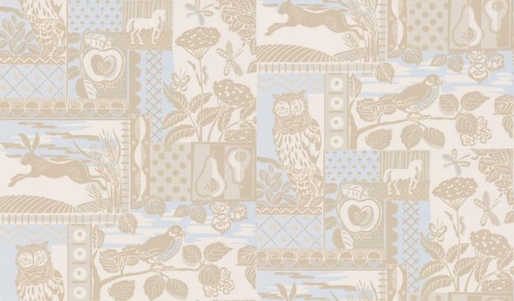Brightwood (J133W-02) - Jane Churchill Wallpapers - A  traditional and rustic design depicting country scenes, animals and trees that was originally printed from a lino printing block. Shown here in a neutral colourway. Please request sample for true colour match.