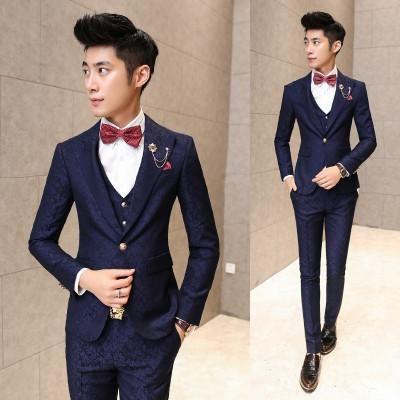 Men Suit With Pants Burgundy Floral Jacquard Wedding Suits for Men 3 pieces