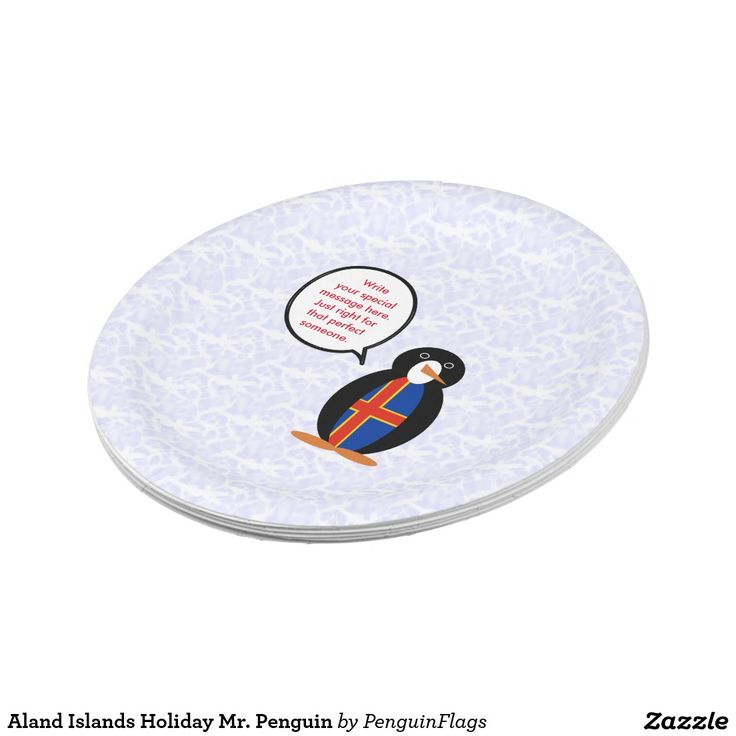 Aland Islands Holiday Mr. Penguin Paper Plate