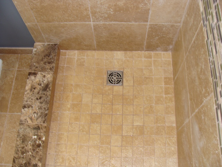 Marble Shower Curb Mosaic Tile Shower Pan Bathrooms And