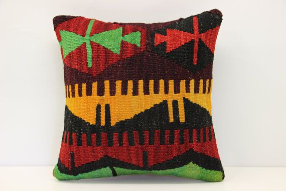 Anatolian Kilim pillow cover 14x14 inches Turkish by stripepattern