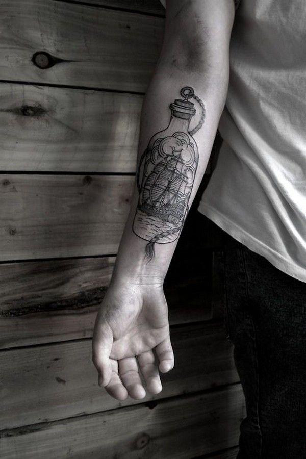 Tatuagens no Antebraço | barco na garrafa
