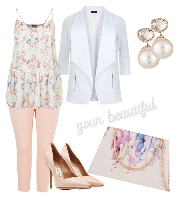 """""""#ContestOnTheGo #ContestEntry"""" by lynetteamaro on Polyvore featuring Melissa McCarthy Seven7, Salvatore Ferragamo, Samira 13, Ted Baker, PBteen, contestentry, ContestOnTheGo and plus size clothing"""