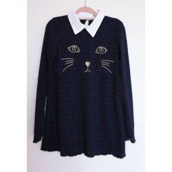 $9.49 Kitten Embroidery Shirt Neck Long Sleeves Acrylic Refreshing Style Sweater For Women