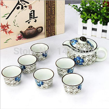 Chinese Blue and Red Porcelain Ceramic Tea Sets Include One Teapot + Six Tea Cups 7Pcs http://ali.pub/1l71lk