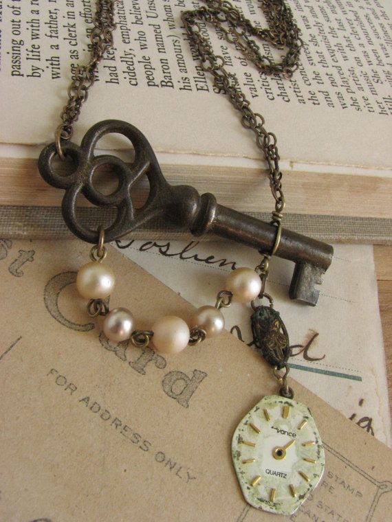 Shabby Chic Steampunk Key Necklace -antique skeleton key and watch face assemblage-