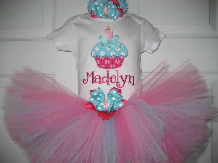 Boutique Monogrammed First Birthday Cupcake tutu by PolkaDotCloset
