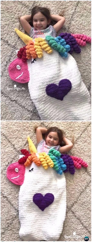 Crochet Crochet Unicorn Snuggle Sack Free Pattern - Crochet Snuggle Sack & Cocoon Free Patterns