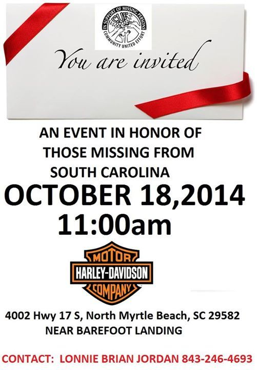 Saay October 18th North Myrtle Beach Harley Davidson 4002 Hwy 17 South Sc 29582 Hosted By Families Of Zach Malinowski Britta