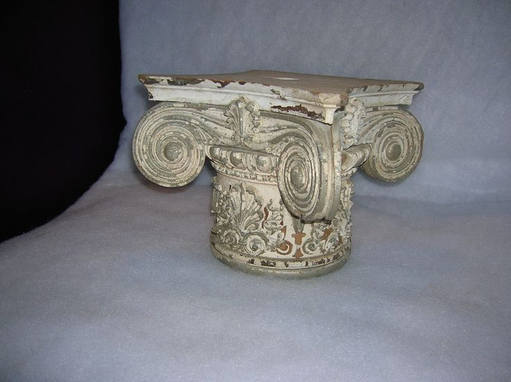 """1 Vintage column capital. Please see photos for condition. 8"""" tall 11.75"""" corner to corner 6"""" diameter at the base 