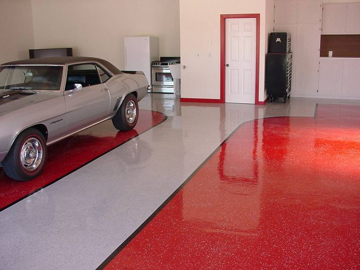 Red and white floor for garage floor paint