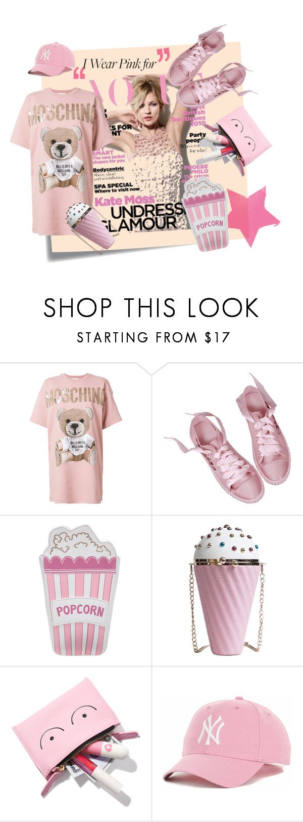 """Pink Funky Moschino"" by iris234 on Polyvore featuring Post-It, Moschino and Valfré"