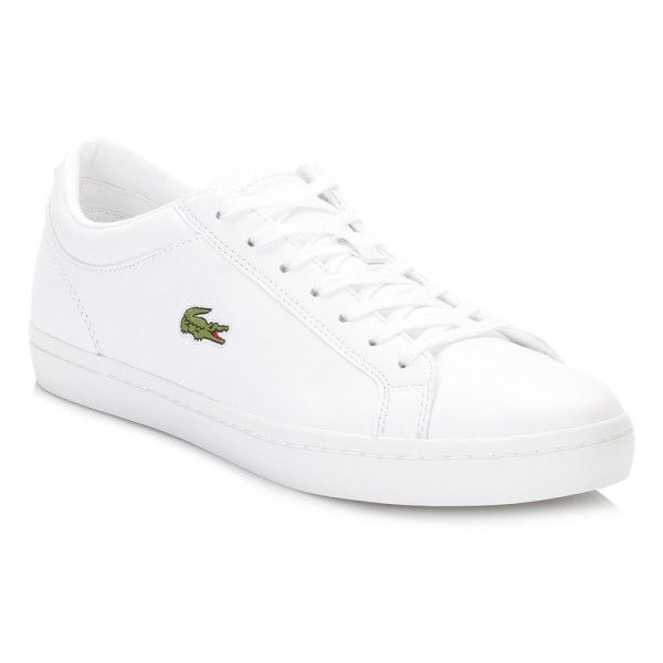Lacoste Womens White Straightset BL 1 SPW Trainers ($97) ❤ liked on Polyvore featuring shoes, sneakers, lacoste trainers, tenny shoes, white tennis sneakers, rugged shoes and lacoste footwear