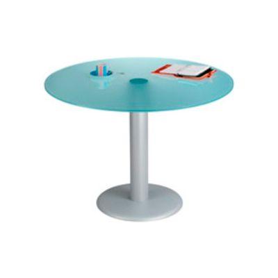 Mesa redonda Ø 120  pie columna aluminio tablero cristal