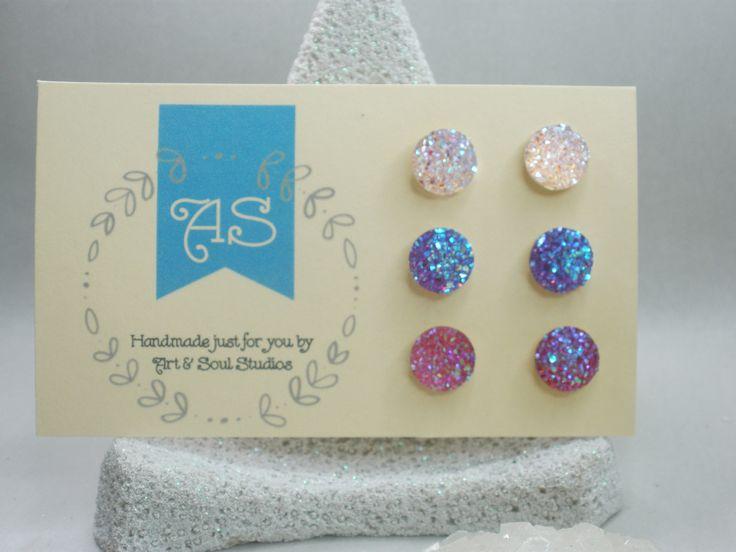 Faux druzy earring set, girls earrings, stud earring, hypo-allergenic, set of 3, non-metal earrings, mystic druzy earrings, sparkly earrings by ArtandSoulStudios on Etsy