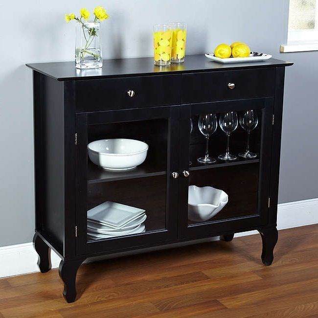 China Cabinets and Hutches Buffets Sideboards With Glass Doors Black Furniture #SimpleLiving