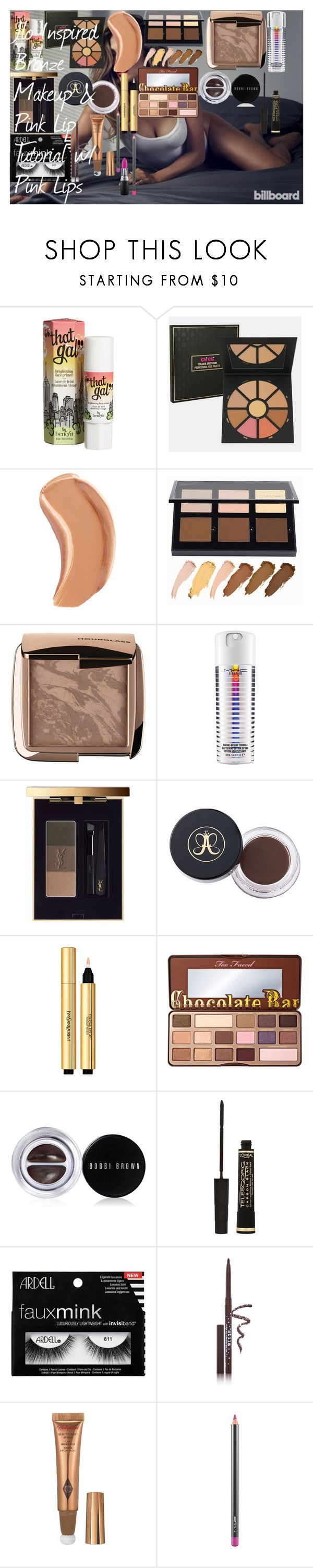 """Jlo Inspired Bronze Makeup & Pink Lip Tutorial w/ Pink Lips ♡"" by oroartyellie on Polyvore featuring beauty, JLo by Jennifer Lopez, Benefit, NARS Cosmetics, Anastasia Beverly Hills, Hourglass Cosmetics, MAC Cosmetics, Yves Saint Laurent, Too Faced Cosmetics and Bobbi Brown Cosmetics"