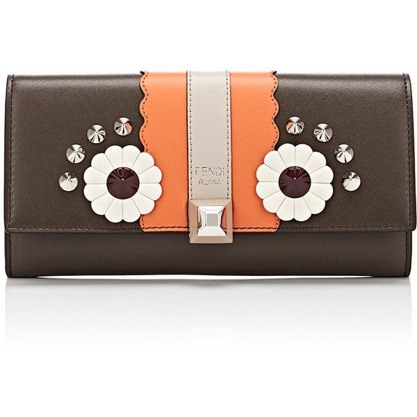 Fendi Women's Owl Continental Wallet ($750) ❤ liked on Polyvore featuring bags, wallets, dark grey, owl wallet, leather wallets, leather bags, mini leather wallet and leather continental wallet