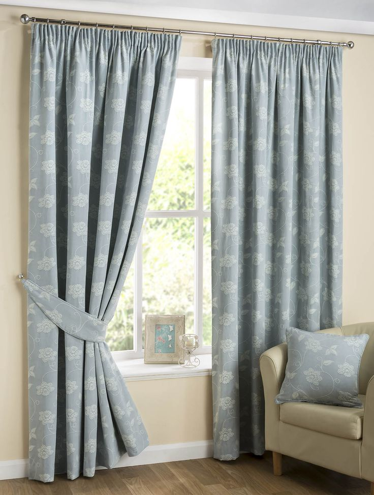 Floral Scroll Ready Made Lined Curtains Duck Egg Blue | Pencil Pleat Curtains | Cheap UK Delivery