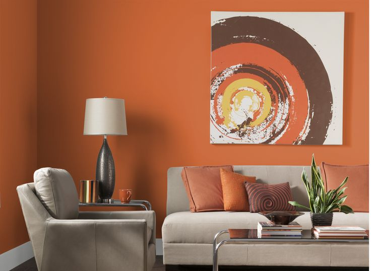 Adorable Design Of The Orange Living Room With Wall Added Grey Sofa Ideas And