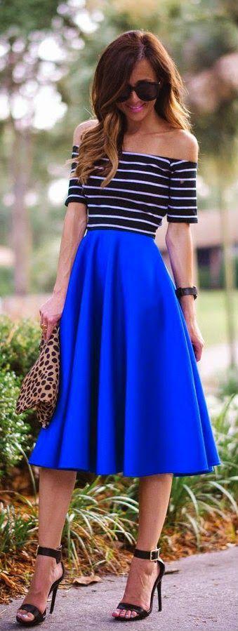Everyday New Fashion: Blue Midi Skirt With Stripe Rib Knit Crop Top