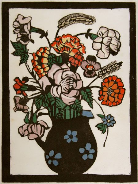 Margaret Preston (1875-1963) - Flowers in a jug, c. 1929 - Hand-coloured woodblock print