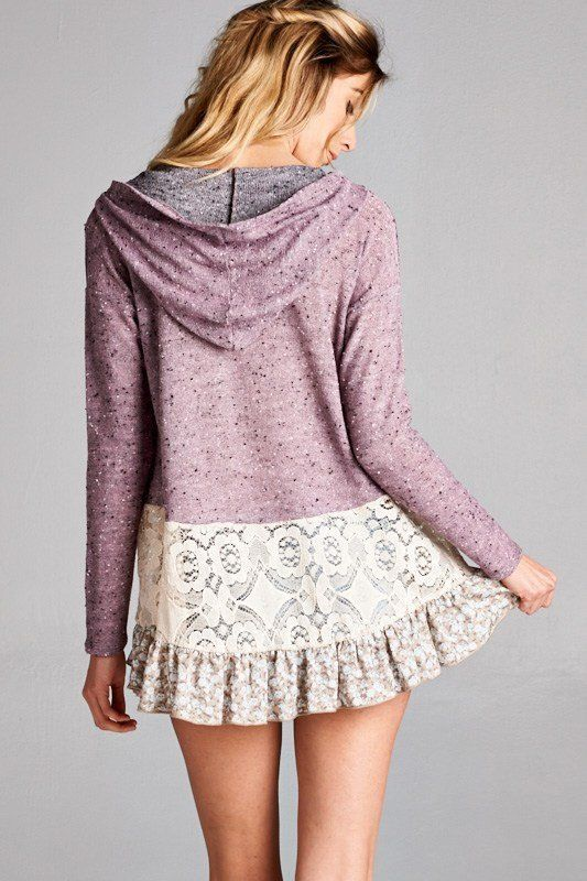 Weekender Lace Inset Floral Ruffle Mauve Terry Hoodie