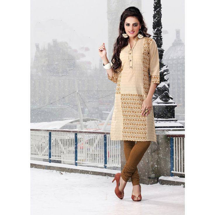 Classy Beige Cotton Designer #Kurti