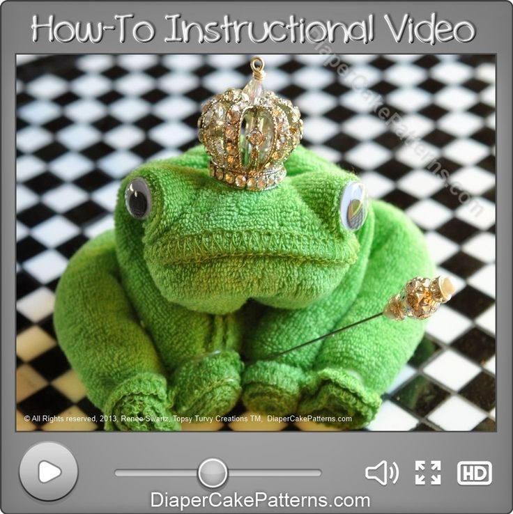 How to Make a Washcloth Frog Video Instructions | Diaper Cake Patterns | Baby Shower Favors