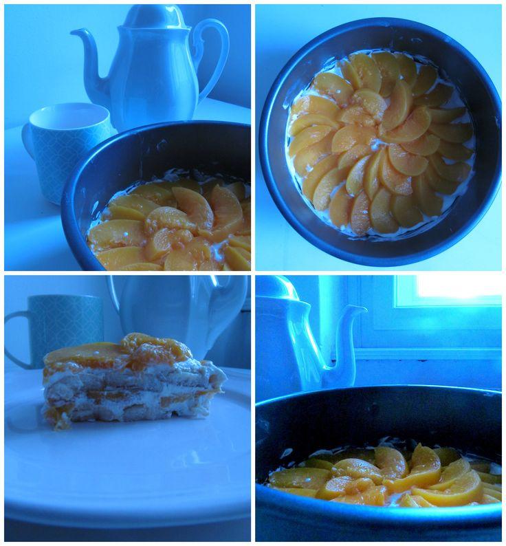 nepečený dort s broskvemi -)) <3
