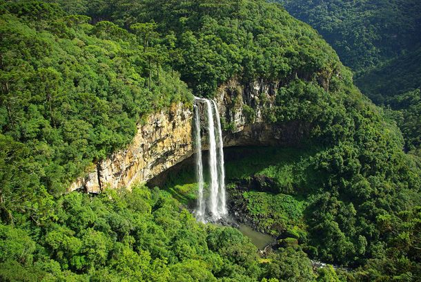 Caracol Falls Behind Iguazu Falls this is the second most popular tourist attraction in Brazil. To get to the base of the waterfall you have to take a steep 927 step trail but for those of you adverse to climbing there is a 100ft observation tower nearby with incredible views.