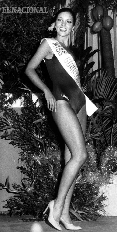 Elluz Peraza fue electa Miss Venezuela 1976, pero su novio le pidió matrimonio un día después de la coronación. Elluz entregó la corona por amor. 21/05/76 Garrido (Colección El Nacional)