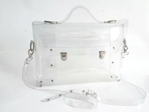 Clear Messenger bag transparent clear satchel clear by YPSILONBAGS