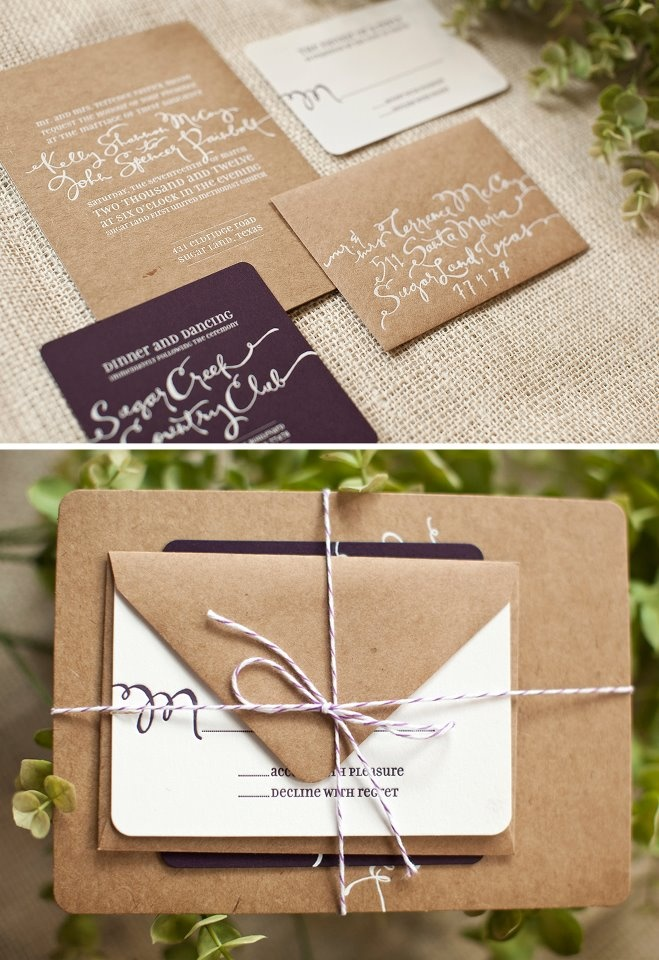 kraft paper + twine invites  Like the way they are wrapped.  #invitations #wedding #twine