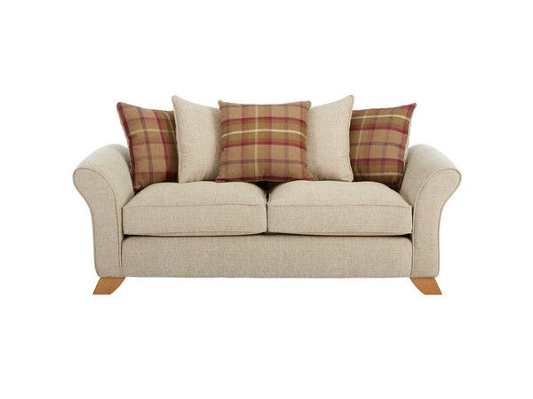 Heidi Large Pillow Back Sofa – Havana Beige Price £599.97 (£1,199.97)  Heidi Large Pillow Back Sofa, Havana Beige with Brown Scatter cushions. Buy Sofas online direct from sofa shop at discount sofa prices in store and online.