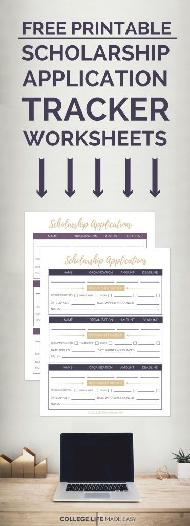 Free Printable Scholarship Application Tracker Worksheets | Scholarship Organizer | High School Student College Student Scholarship Binder | via @esycollegelife