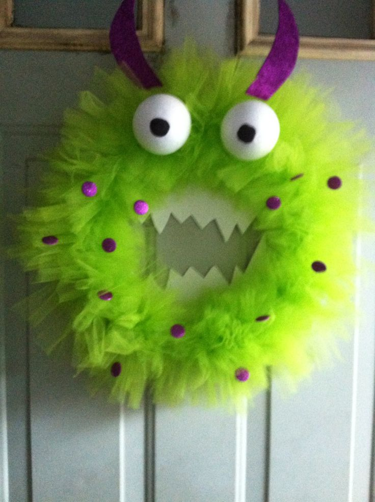 Handmade Tulle Monster Face Wreath Halloween by DressyDoors1, $30.00