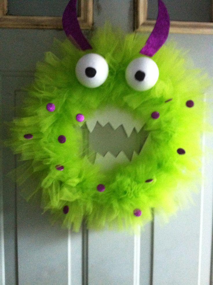 Handmade Tulle Monster Face Wreath Halloween by DressyDoors1, $30.00