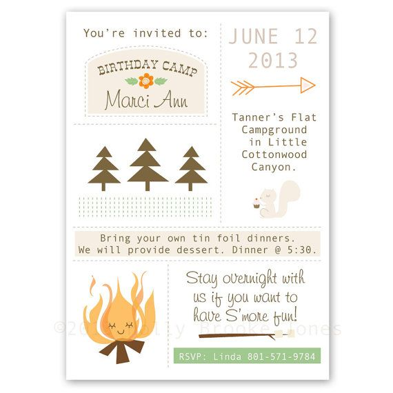 camping birthday invite could be a cute theme easy to make a simple party - Camping Party Invitations