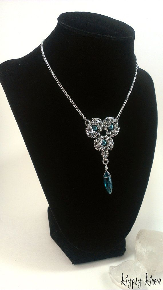 Romanov Pendant Chainmaille Necklace with Blue Glass di GypsyGrove, $20.00