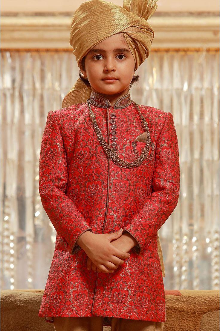 Samyakk Red Silk Embroidered Achkan Sherwani