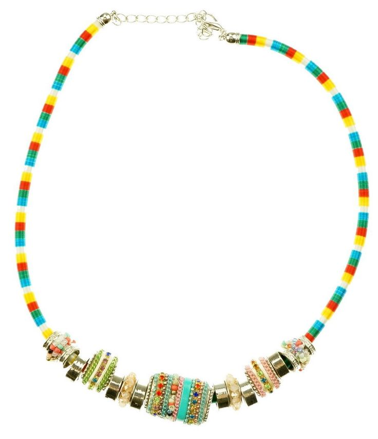 This colourful 50cm necklace is full of various coloured beads.