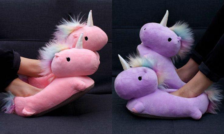 In deze unicorn sloffen zit een verwarming en ze staan allemachtig prachtig aan je voetjes