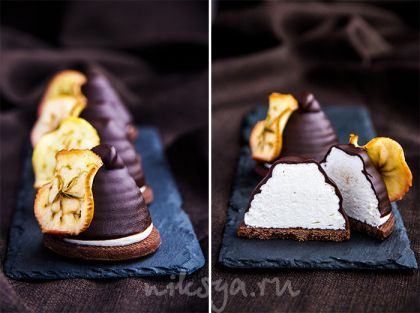 Десерт с зефиром на шоколадном печенье