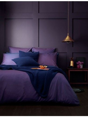 Looking to move to the dark side? Our Twill Purple bed linen is the injection of colour to create your dream bedroom. We've styled it with dark purple walls and copper and gold accessories to make it even more luxe.