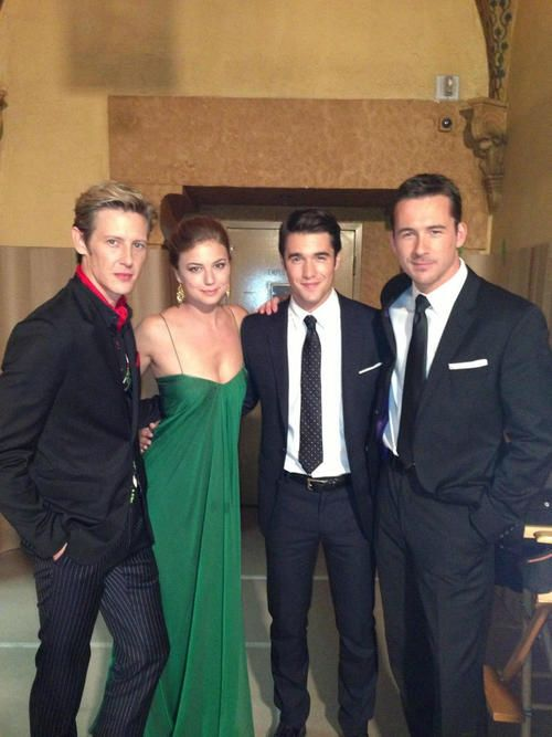 The t.v. series Revenge - cast members.  I love these guys and the the show as well.  @EmilyVanCamp on set with Gabriel Mann, Josh Bowman and Barry Sloane.