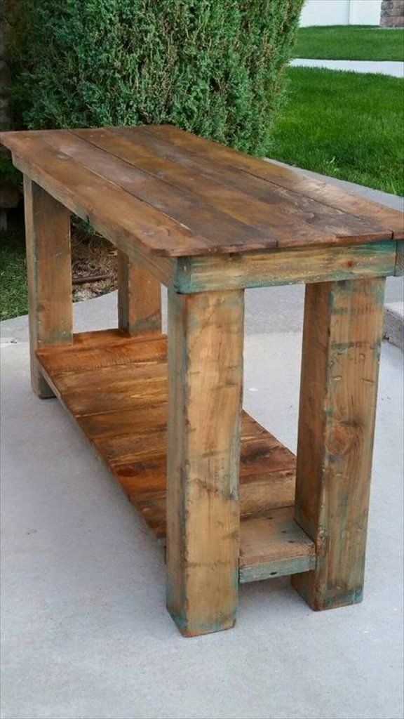 recycled pallet sofa table and console table pallet table projects rh pinterest com