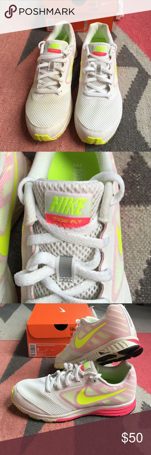 Nike Zoom Fly Shoes White Nike Zoom Fly with neon pink and yellow accents. Worn once. Nike Shoes Athletic Shoes