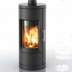 Bari 8170 cylindrical European design wood stove in black/lava ceramic, by Hearthstone. Heats up to 1400 sq. ft. Available from Rich's for the Home http://www.richshome.com/